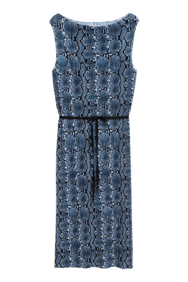 Pleated dress - Blue/Snake print - Ladies | H&M